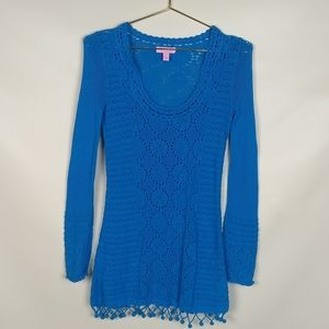 Lilly Pulitzer Crochet  Teal Tunic XS